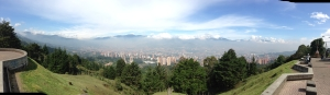 trying to stretch middle age, half way up a 2 hour walk of Las Palmas overlooking Medellin (yesterday)