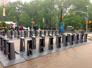 bike share racks at Madison Square Park ready to start working