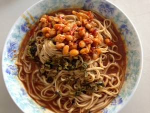 what bike ride would be complete without noodles with peanut sauce and soy beans?