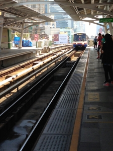 on a BTS platform as train approaches the (almost) modern station