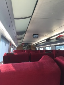 view inside the first-class bullet cabin (equal to Amtrak's business class)