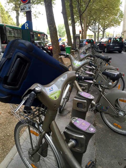 what made the trip even tastier was using the Paris bike share program, enabling me to ride with my carryon to the train, which I then took to the airport