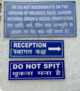 "in fairness, spitting is not relegated to China only. This ""no spitting"" sign was posted in every section inside and out of this Delhi, India factory."