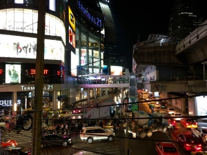 coming down the steps from the Asok BTS station