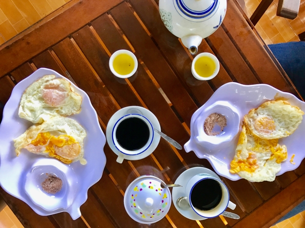 our daily breakfast of eggs and coffee