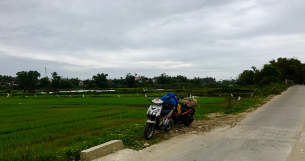 Outside Hoi An, after a long day, one final stretch break.
