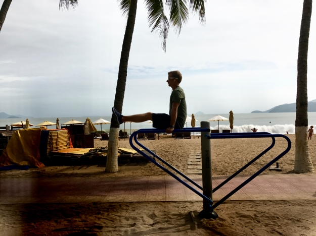 our workout area on the beach in Nha Trang, where there are way too many Russians